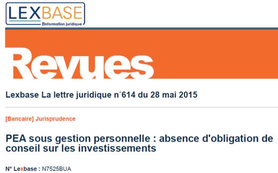 Le banquier n'a pas d'obligation de conseil quant aux investissements d'un PEA (Cass. com., 8 avril 2015)