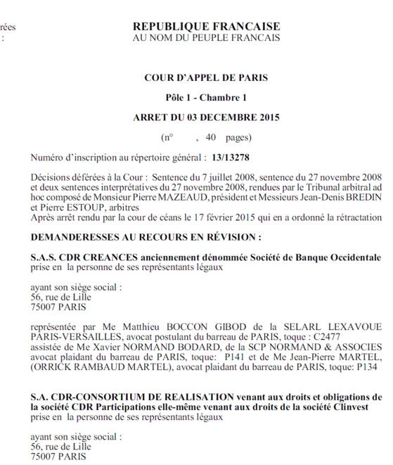 Voyez Lu0027arrêt Tapie De La Cour Du0027appel De Paris Du 3 ...