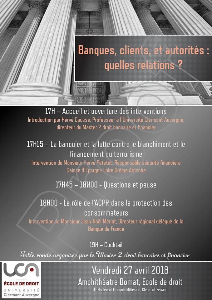 Soirée droit bancaire et financier par le M2 DBF (27 avril 2018, Ecole de Droit de Clermont)