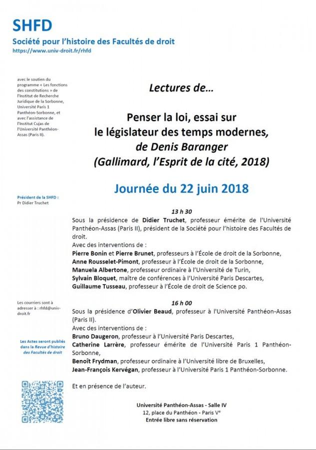 Penser la loi. Rien de moins. Colloque avec Denis BARANGER (Université Paris II, 22 juin 2018).