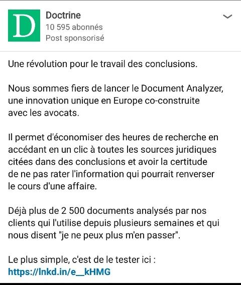 Post de Doctrine.fr sur Linkedin