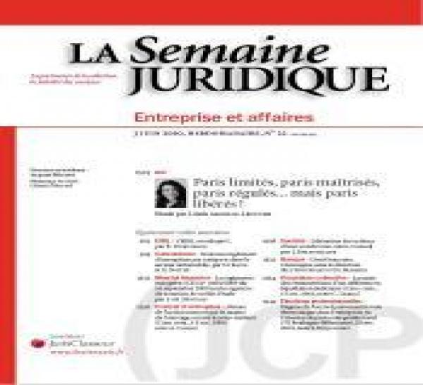 Chronique de droit bancaire, Semaine Juridique Entreprises et Affaires.