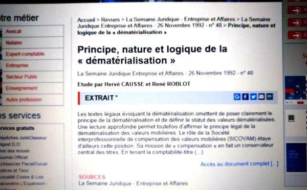 Un article avec... René ROBLOT sur la dématérialisation (Photo de la base LexisNexis). Mais non !